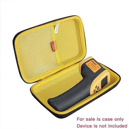 Hermitshell Hard Travel Case for Etekcity Lasergrip 800 Digital Infrared Thermometer Laser Temperature Gun Black Yellow