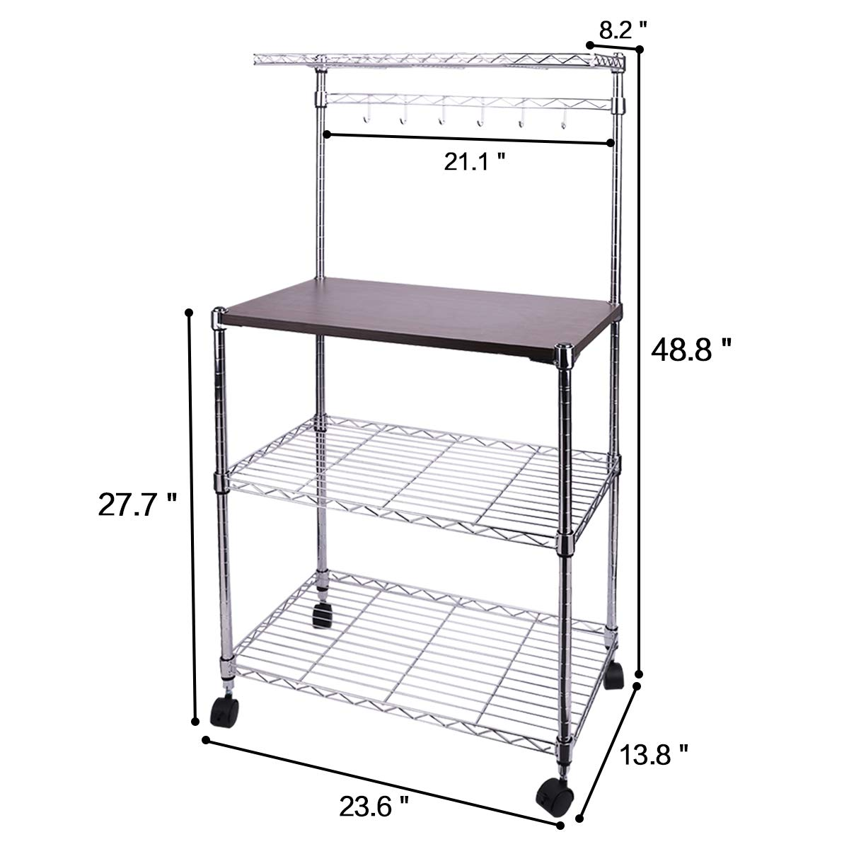 SEEKAVAN 4-Tiers Kitchen Storage Rack, 14×24×49 in. Adjustable Oven Holder Vintage Cookware Gathering Shelf Microwave Bakers\' Cart Organizer with Hooks and Lockable Wheels