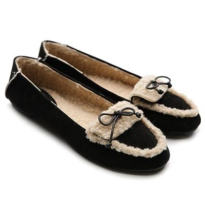 Ollio Women's Shoe Faux Suede Fur Lining Ribbon Ballet Flat   Flats