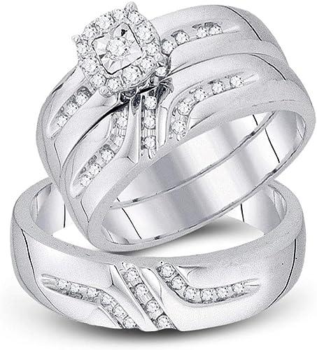 Amazon Com Fb Jewels 10k White Gold 1 3ctw Diamond Fashion His