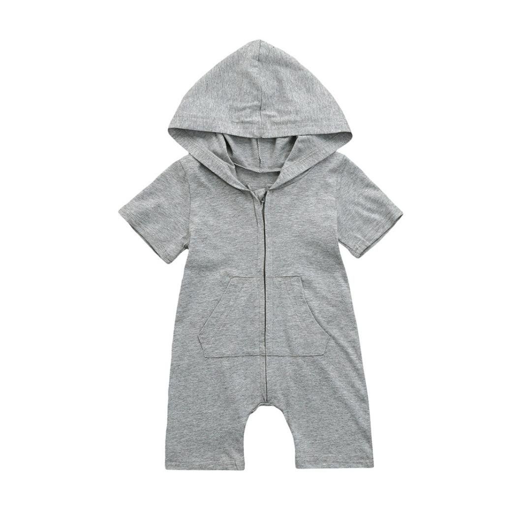 Fartido Romper Baby Girl Boy Clothing Solid Hooded Jumpsuit Summer Outfits WQAQ16