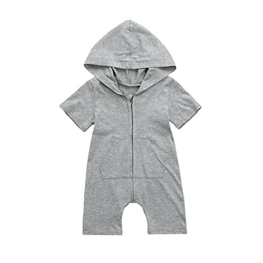 29d30561ecb2 Amazon.com  Fartido Romper Baby Girl Boy Clothing Solid Hooded Jumpsuit  Summer Outfits  Clothing