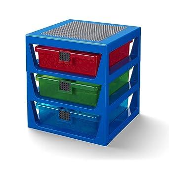 Lego 3-Drawer Storage Rack System, 13-2/3 x 12-3/4 x 15 Inches, Blue