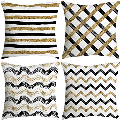 Littay Set of 4 Decorative Blue and White Porcelain Throw Pillow Cover 17.72