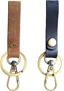Brown Mini Stoned Oil Leather HK Belt Clip Keychain Key Holder