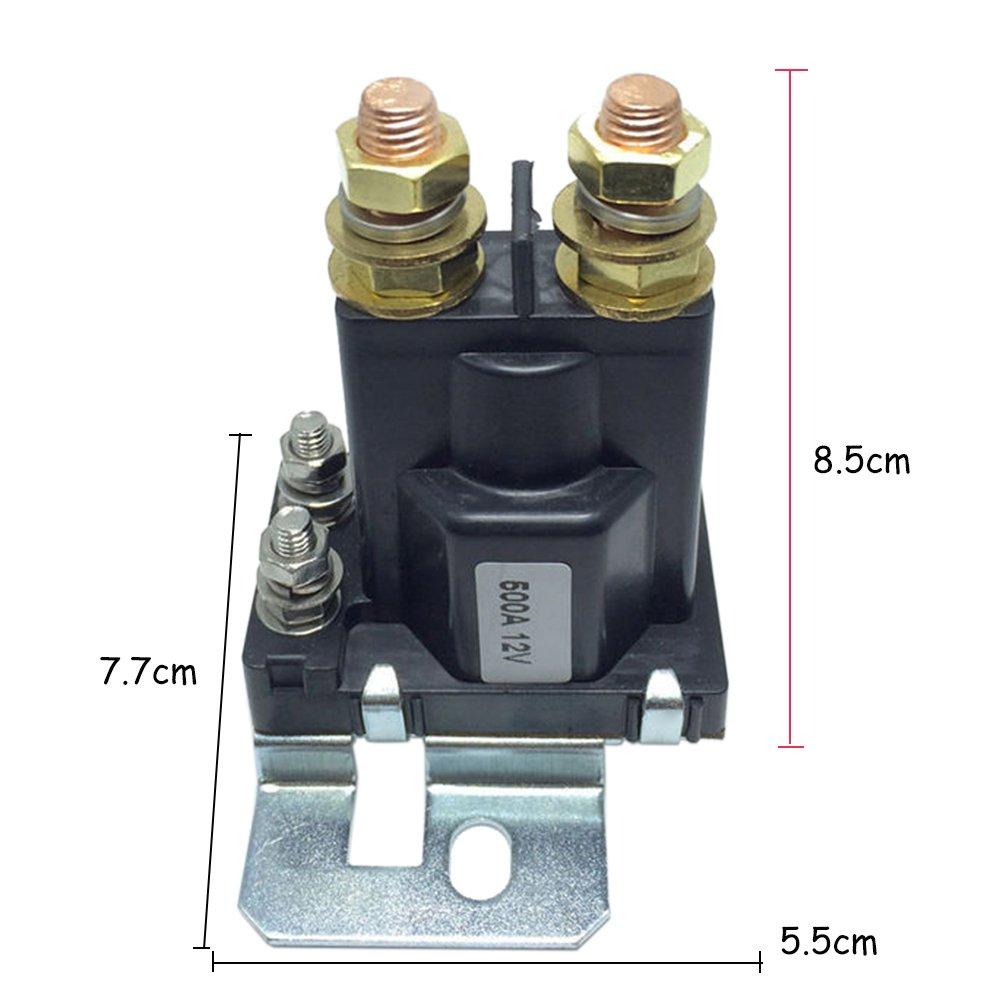 KKmoon 12VDC 500A AMP Schwere Strom 4 Pin SPST Auto Auto Start Relais Sch/¨/¹tz Doppelte Batterien Isolator Aus EIN Kontrolle f/¨/¹r Multi-Batteriesystem Gabelstapler Engineering Automotive/¡/