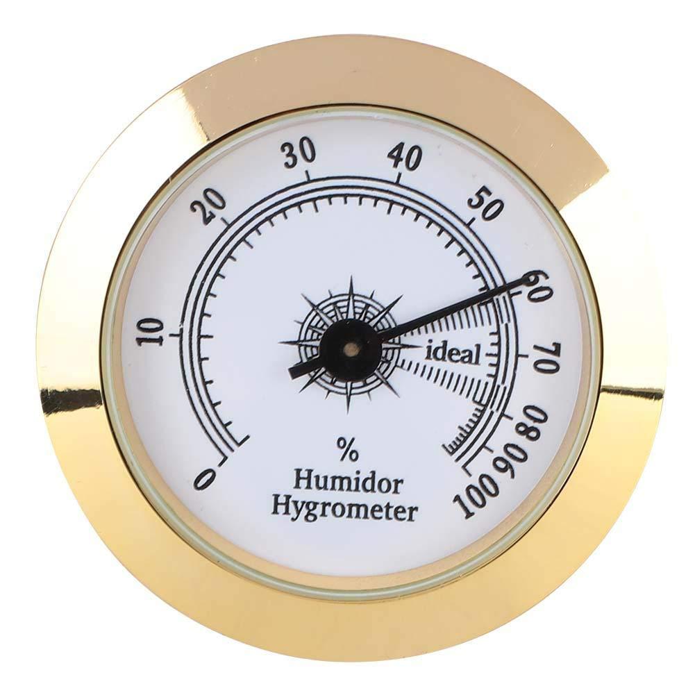 ViaGasaFamido Igrometro di Tabacco da sigari Igrometro analogico Rotondo di Metallo preciso per armadi per sigari Humidor Diametro 50mm Oro