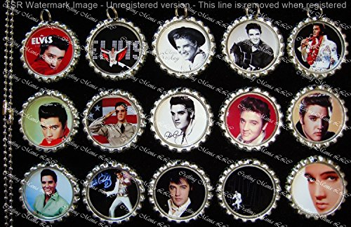 15 Elvis Presley Silver Bottle Cap Pendant Necklaces Set (Elvis Presley Dome)