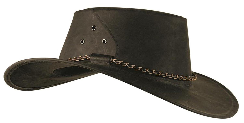 Känguru Lederhut, echter Traveller in schwarz und braun, hergestellt in Australien von Kakadu Traders