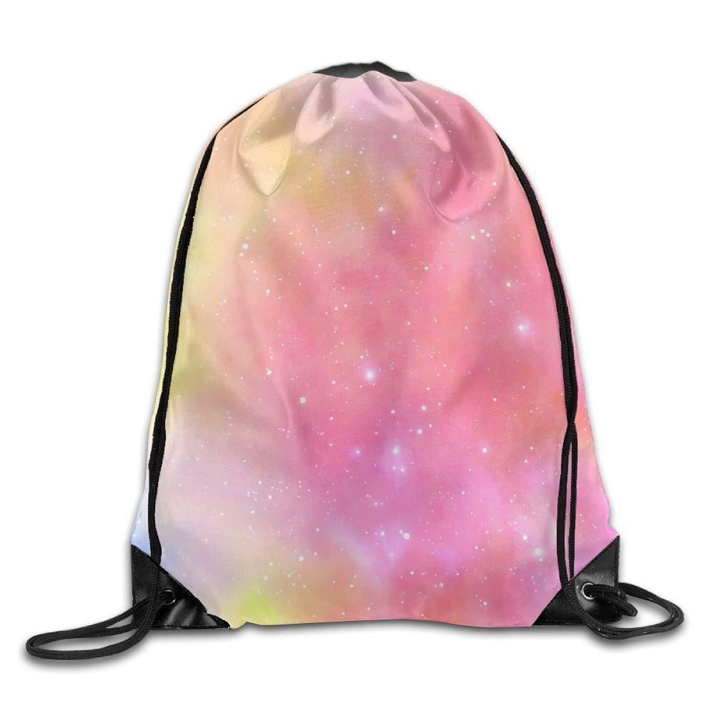 rt1 WジムDrawstringユニセックスDrawstring bagdreamピンクシンプルな図面Quick Dryバックパックバッグ B07BPM3R7K