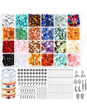 Crystal Jewelry Making Kit with 24 Colors Crystal Beads - Cludoo 1516Pcs Crystal Chips Gemstone Beads Irregular Chips Stones with Ring Making Kit for Bracelet Necklace Earring Jewelry Making Supplies
