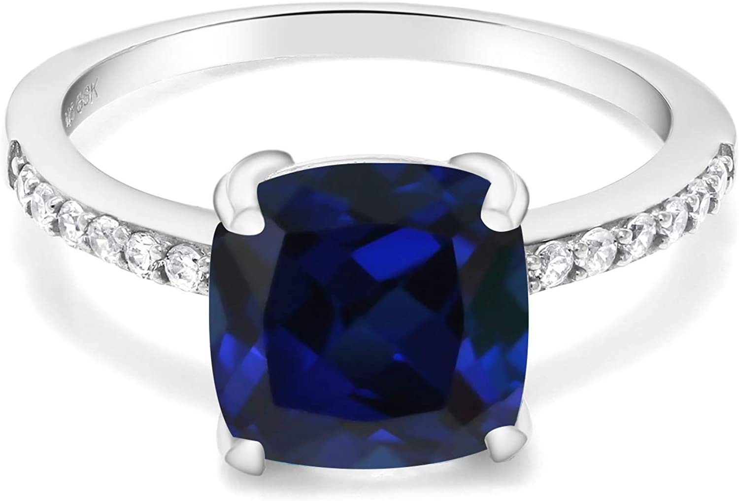Gem Stone King 925 Sterling Silver Blue Created Sapphire Women Engagement Ring (2.62 Ct Cushion Cut 8MM, Available in size 5, 6, 7, 8, 9)