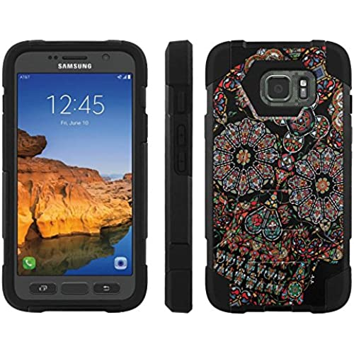 AT&T [Galaxy S7 Active] ShockProof Case [ArmorXtreme] [Black/Black] Hybrid Defender [Kickstand] - [Skull] for Sales
