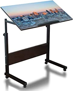 Mobile Laptop Desk Height Adjustable Table Montreal Downtown at Sunset Small Rolling Couch Desk Laptop Tray Portable Laptop Stand Desk Mini Computer Table