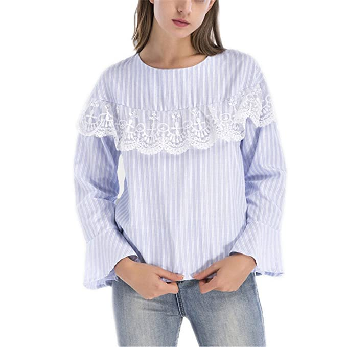 Tops de Encaje Patchwork Top Blusas de Mujer Autumn Ladies Casual Tops de Rayas Azules Blusa Elegante de Manga Larga: Amazon.es: Ropa y accesorios