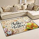 Cheap WOZO Easter Egg Gift Box Area Rug Rugs Non-Slip Floor Mat Doormats Living Room Bedroom 60 x 39 inches