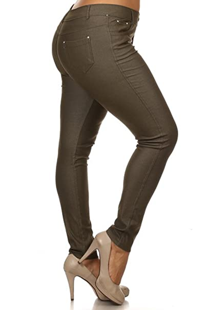 52aaa1a5fa0 Women s Plus Size Cotton Blend Stretchy Jeggings With 5 Pockets (ARMY  GREEN