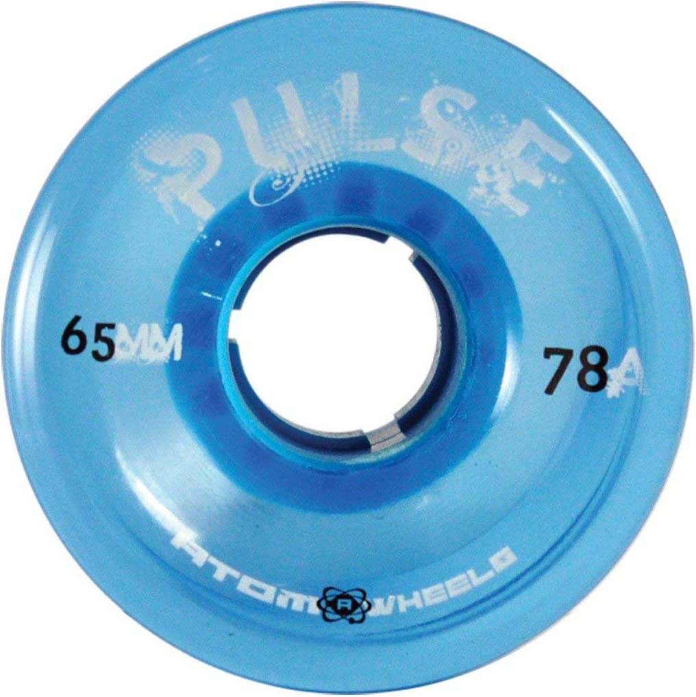 Set of 8 Blue 65mm x 37mm Atom Skates Pulse Outdoor Quad Roller Wheels 78A