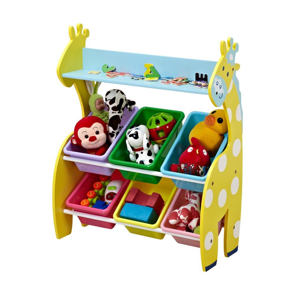 ISUMER Deluxe Kids' Toy Storage Organizer with 6 Plastic Bins, Giraffe Toys Organizer and Storage Bins