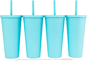 Tumblers with Lids (4 pack) 22oz Colored Acrylic Cups with Lids and Straws | Double Wall Matte Plastic Bulk Tumblers With FREE Straw Cleaner! Vinyl Customizable DIY Gifts (Sky Blue)