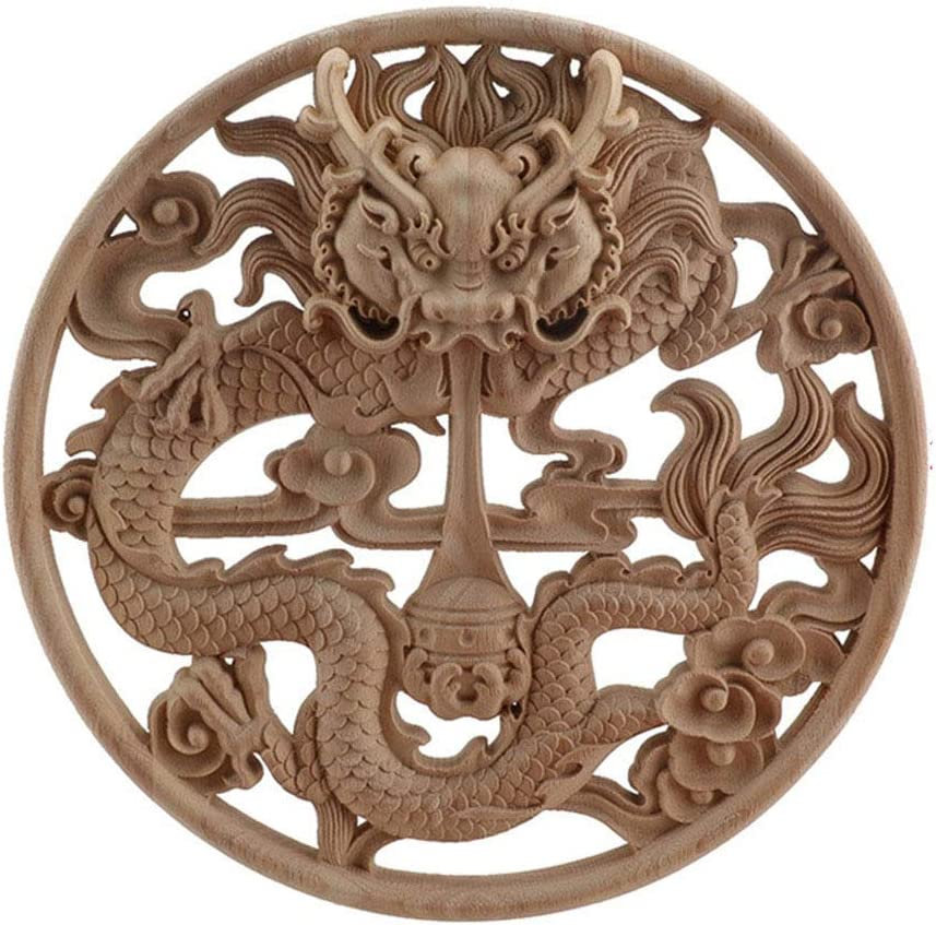 Chinese Dragon Wooden Home Decoration Accessories Wood Carved Corner Onlay Applique Craft Furniture Door Sticker Decor Figurine XM5-24