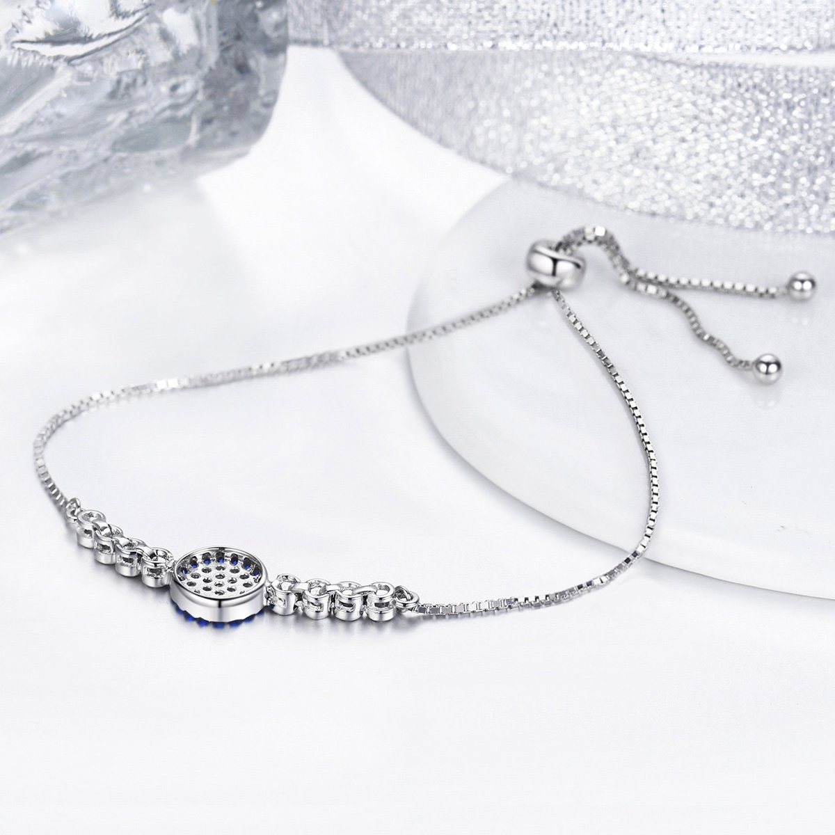 The Kiss Lucky Round Blue Eyes Power Adjustable 925 Sterling Silver Charm Bracelet