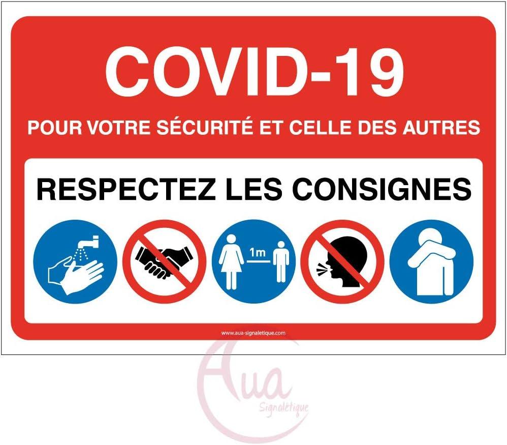 300x210 mm Mod/èle avec 5 pictogrammes -Rouge AUA SIGNALETIQUE Signalisation Coronavirus respectez consignes COVID-19 Vinyl adh/ésif