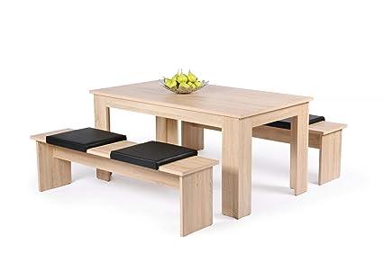 Avanti Trendstore Set con tavolo e due panche per la sala da pranzo, in  quercia sonoma d\'imitazione, ca. misura tavolo: 140x75x80cm