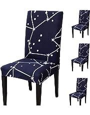 Teerfu Coprisedia, 4 pezzi,protezione elasticizzata rimovibile in spandex per sedie da pranzo, ultra aderente, per banchetti, hotel e cerimonie nuziali, lavabile
