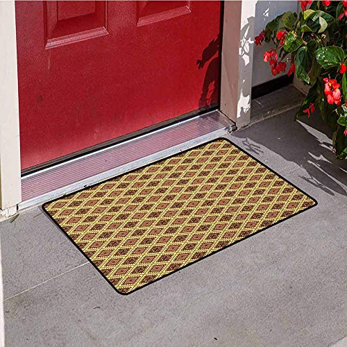 Gloria Johnson Oriental Inlet Outdoor Door mat Geometric Lines with African Tribal Inspirations Primitive Modern Catch dust Snow and mud W15.7 x L23.6 Inch Pale Coffee Cinnamon Yellow