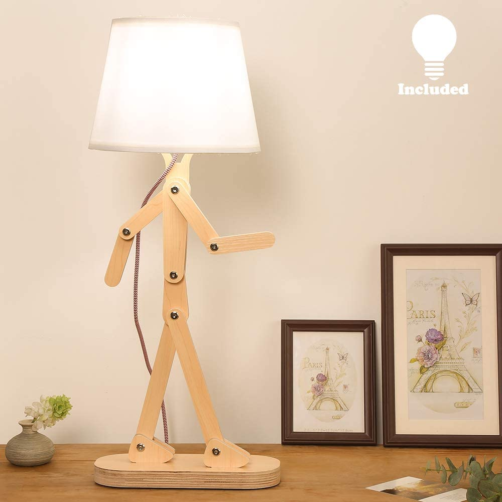HROOME Novelty Modern Desk Lamp with Swing Arm, Cool Wood Adjustable Kids Table Lamp Bedside Light for Reading/Bedrooms/Living Room/Office/Girls/Boys - Prunus Cherry, Bulb Included