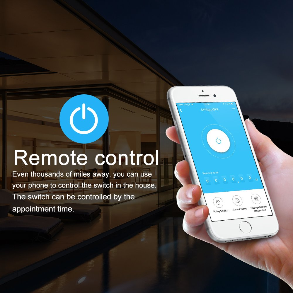 2Pcs Wi-Fi Smart UK Plug Alexa Horsky Remote Control Switch Socket Controlling Lights and Appliances from Phone Wireless Working with  Alexa Echo Google Home
