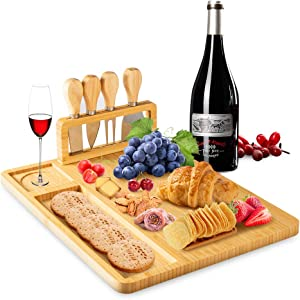 Charcuterie Board with 4 Knife Set One Fire Bamboo Cheese Board, Wood Cutting Board for Kitchen, Meat Charcuterie Platter Serving Tray, Charcuterie Board Set for Housewarming Party Christmas Gift