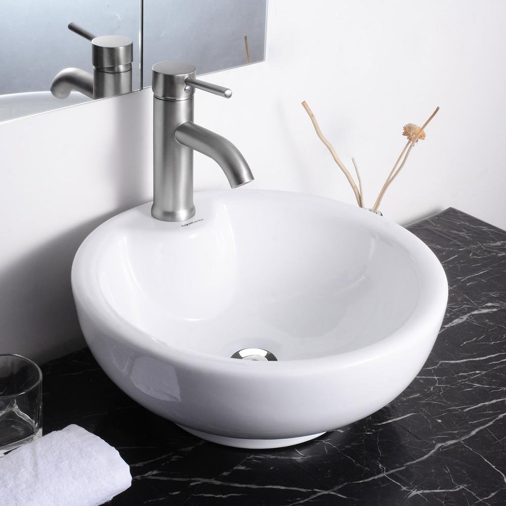 Bathroom available in 5 finishes vessel bathroom sinks msrp 425 - Aquaterior 16 3 8 Dia X6 2 3 H Round White Porcelain Ceramic Bathroom Sink W Free Chrome Drain And Overflow Amazon Com