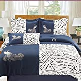 Dovedote 5 Piece Peacock Animal Print Microfiber Comforter Set, Queen, Navy Blue