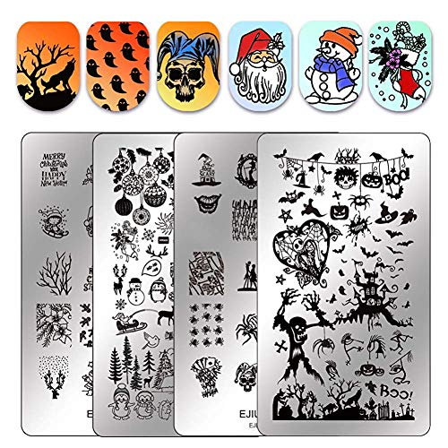 Ejiubas Halloween Nail Stamping Kits Stamping Plates - Double Sided Stamping Templates Nail Art Salon Design Christmas Plates for free EJB-X07&X08 ()