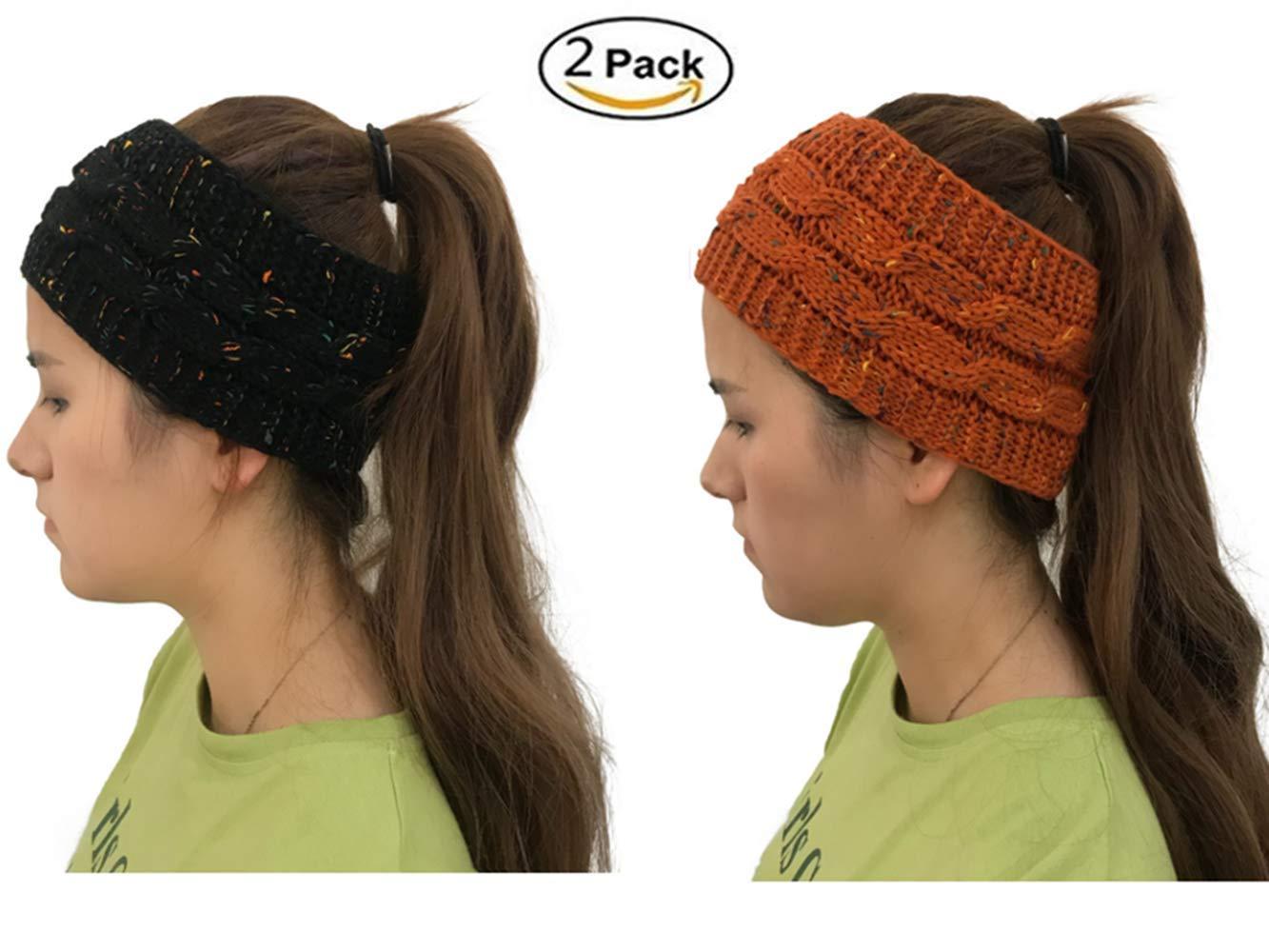 Nhmpretty 2 pack Womens Winter Knit Headband Hairband Hat Cap Ear Warmer (black+brown)