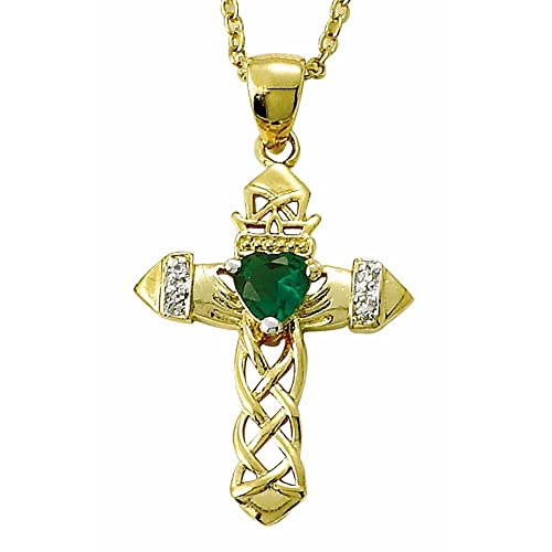 TrueFaithJewelry 24K Gold Over Sterling Silver Claddagh Cross Pendant with Green Accent, 1 Inch