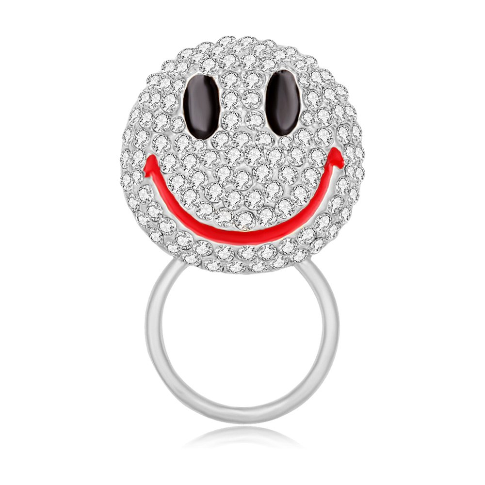 MANZHEN Lovely Cute Crystal Happy Face Smiley Emoji Brooch Pins (Magnetic eyeglass holder-silver)