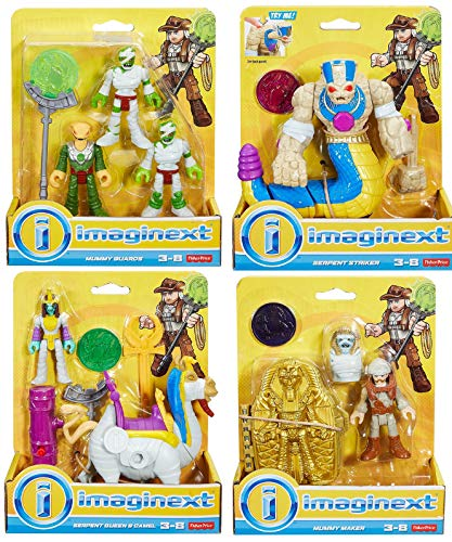 Set of 4 Action Figures Imaginext Serpent Queen & Camel, Mummy Guards, Serpent Striker, Mummy Maker