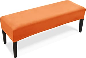 REECOTEX Velvet Bench Covers for Dining Room, Soft Stretch Upholstered Bench Seat Slipcover for Living Room, Kitchen and Bedroom, Washable Removable Dining Bench Protector,Orange