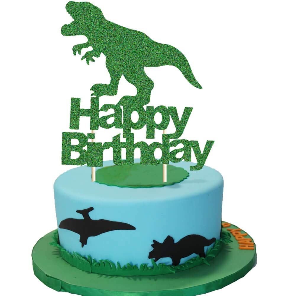 Strange Dinosaur Cake Topper Green Glitter T Rex Happy Birthday Party Cake Funny Birthday Cards Online Alyptdamsfinfo