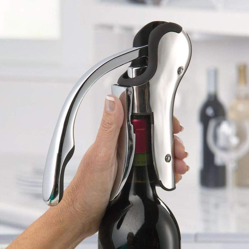 Keissco Compact Wine opener Stainless Steel Vertical Lever Corkscrew with Foil Cutter by KEISSCO