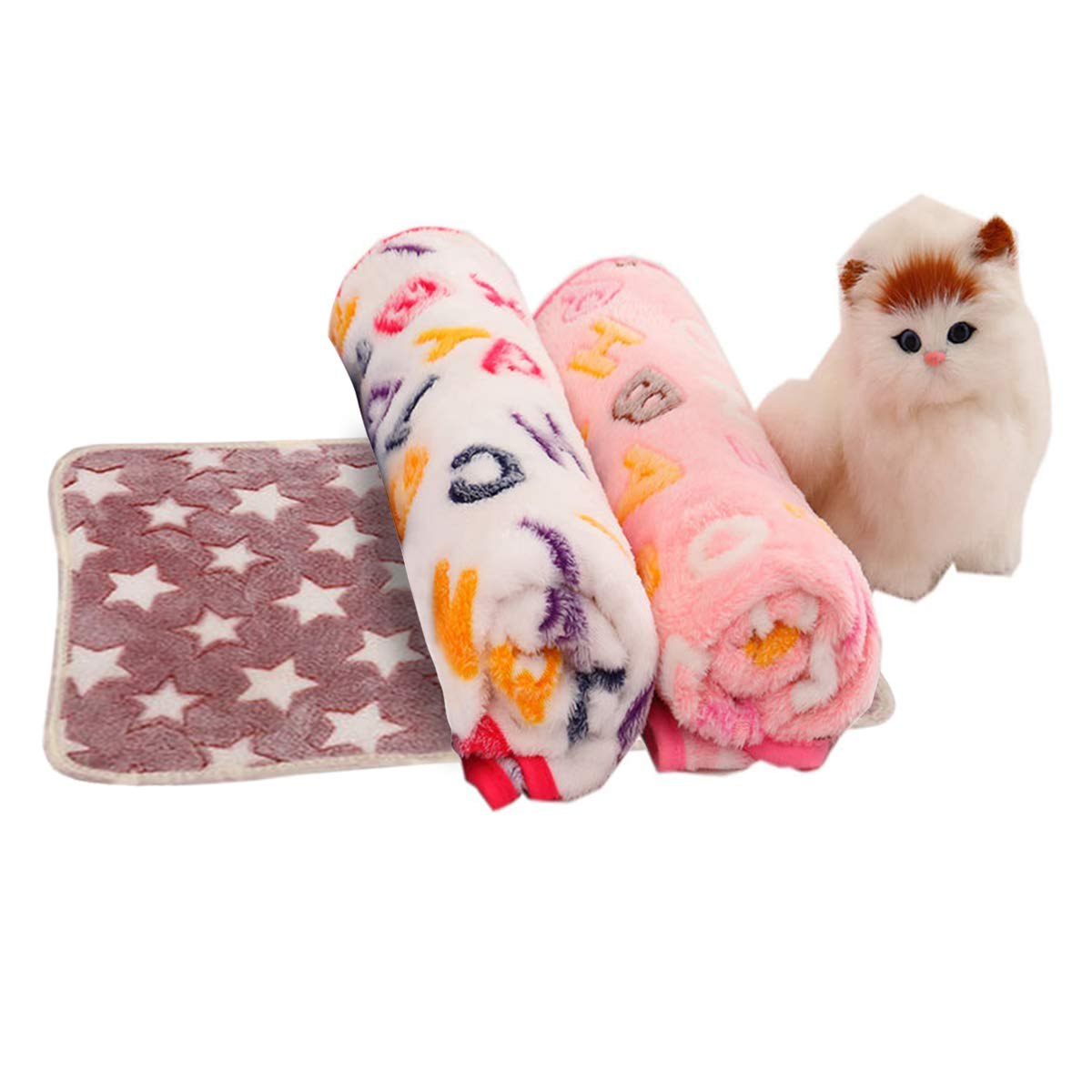 Pack3 Medium(29.920.9\ Pack3 Medium(29.920.9\ Adorrable Soft and Fluffy Pet Blanket Warm Cute Dog Cat Fleece Throw Blankets with Star Letter Prints Pack of 3, Pack3, 29.9 20.9 ,