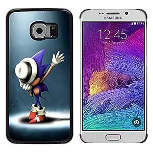 KLONGSHOP // Cubierta de piel con cierre a presión Shell trasero duro de goma Protección Caso - S0nic Hedgehog - Samsung Galaxy S6 EDGE //