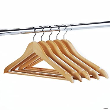 CRESNEL 24-Pack Solid Wood Clothes Hangers - Premium Natural Wood Finish - 360 Degree Rotating Chrome Hook - Best Value Set of 24pcs