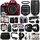 Nikon D3300 Red DSLR Digital Camera + 18-55mm VR II + Nikon 70-300mm Lens + 128GB Memory + (2) Batteries + Charger + LED Video Light + Backpack + Case + Filters + Auxiliary Lenses + $50 Gift Card
