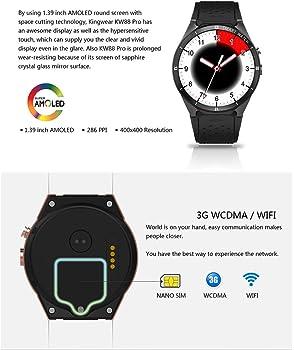 Zwbfu KINGWEAR KW88 Pro 3G SmartWatch Phone 1.39 Pulgadas Android ...