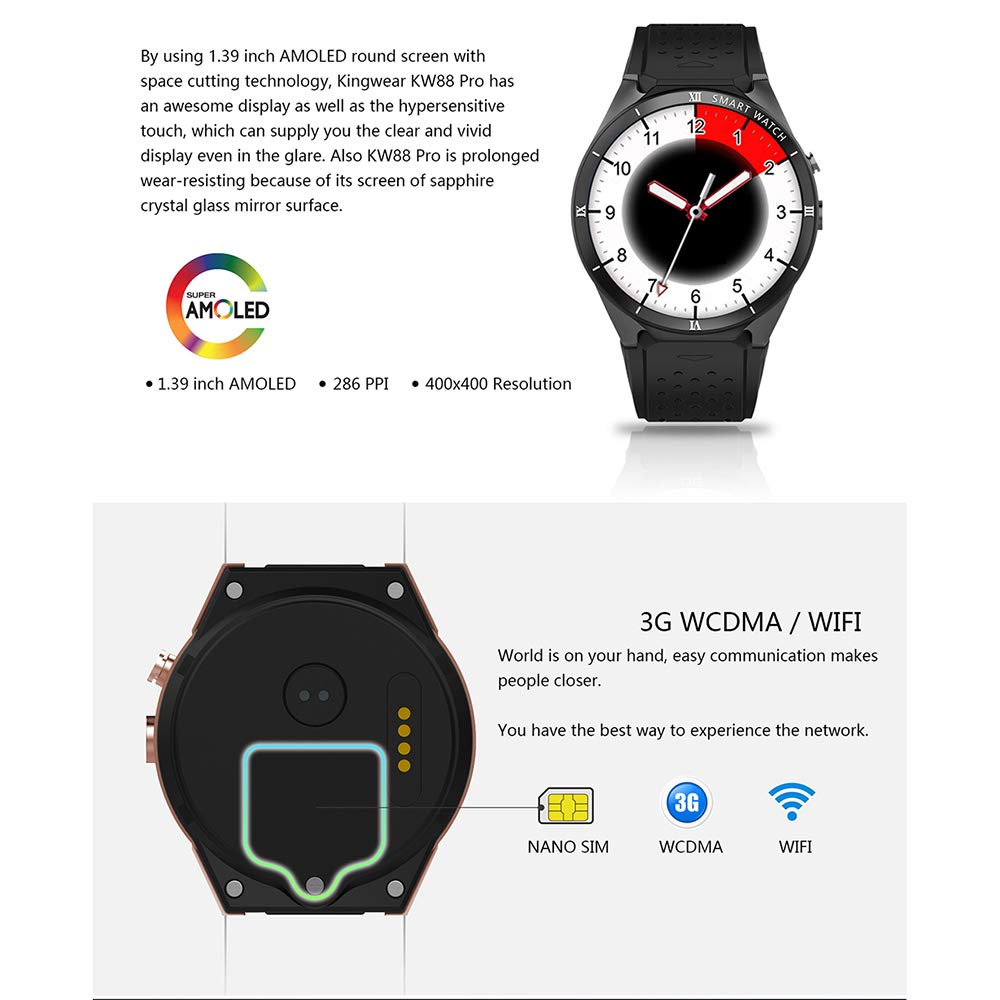 Amazon.com: CIGOO KINGWEAR KW88 Pro 3G Smartwatch Phone 1.39 ...