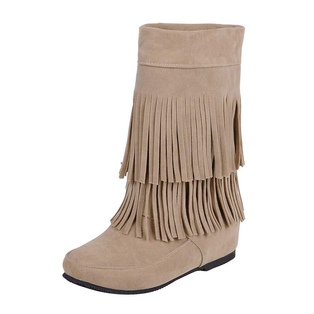 QINGMM Stiefel Frauen Wildleder Fransen Stiefel QINGMM 2018 Herbst Flache Mode Stiefelies Aprikose 38 EU f6b494